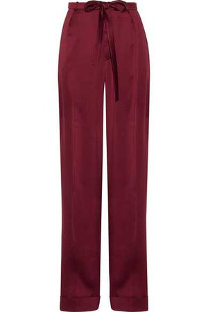 Valentino | Pleated silk-satin wide-leg pants | NET-A-PORTER.COM