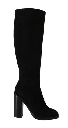 Black Suede Leather Knee High Boots - Dolce & Gabbana - BrandsGateway