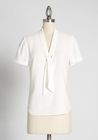 Polished and Playful Tie-Neck Blouse White | ModCloth