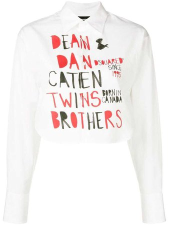 Dsquared2 printed cropped shirt