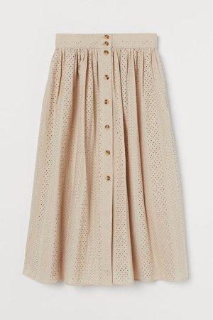 Eyelet Embroidery Skirt - Beige