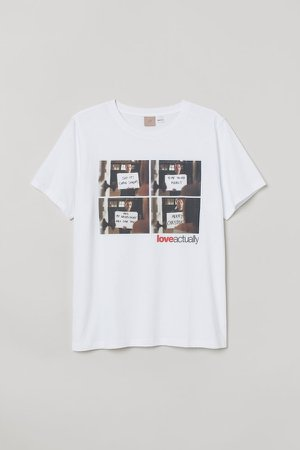 H&M+ Printed T-shirt - White