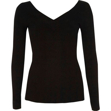 Black V neck long sleeve knitted top