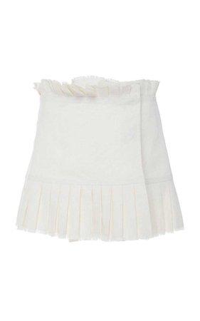 Alexis - SS19 | Merit pleated white linen mini skirt ($365)