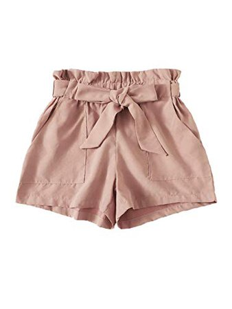 WDIRARA Women's Casual Double Breasted Belted Elastic Waist Paperbag Shorts at Amazon Women's Clothing store: