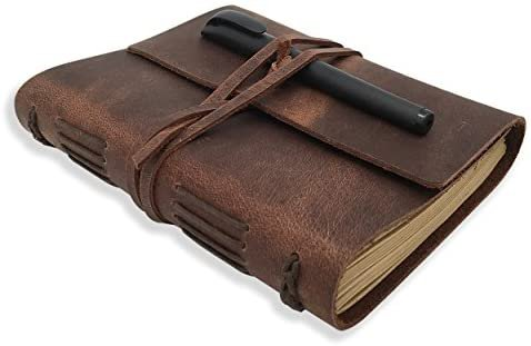 Amazon.com : Leather Journal Writing Notebook - Genuine Leather Bound Daily Notepad for Men & Women Lined Paper 240 Kraft Pages, Handmade, Rustic Brown, 5 x 7 in : Office Products
