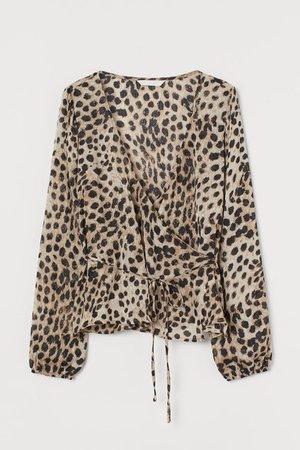 Patterned Wrap-front Blouse - Beige/leopard print - Ladies | H&M US