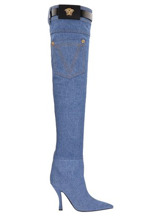 Versace Denim Thigh-high Boots