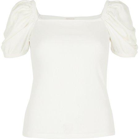 White ribbed puff sleeve T-shirt - T-Shirts - Tops - women