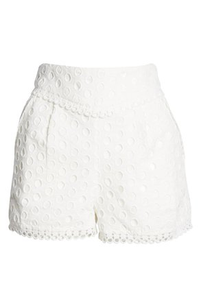 Endless Rose Lace Trimmed Eyelet Shorts | Nordstrom