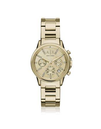 Armani Exchange Lady Banks Gold Tone Chronograph Womens Watch