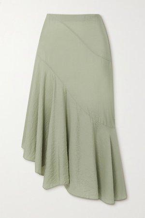 Asymmetric Woven Midi Skirt - Green