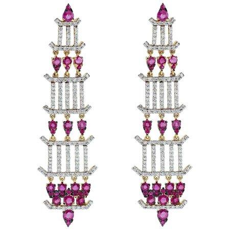 Ruby Diamond 18 Karat Gold Chandelier Earrings For Sale at 1stDibs