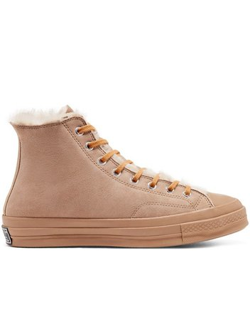 Converse Chuck 70 Hi shearling sneakers in iced coffee | ASOS