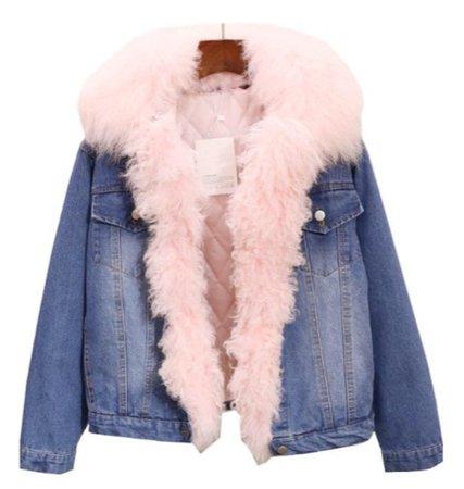 pink faux fur collar denim jacket
