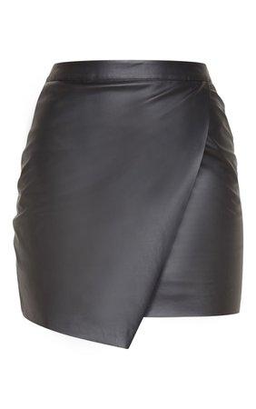 Luisa Black Faux Leather Wrap Mini Skirt   Skirts     PrettyLittleThing USA