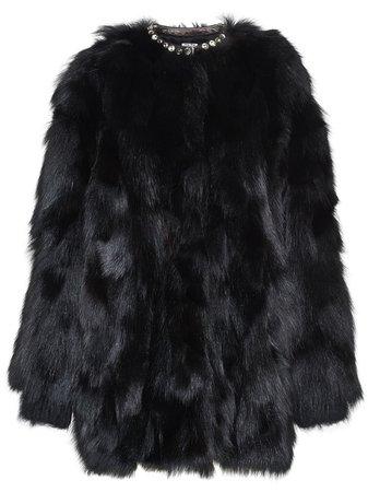 Black Miu Miu Fur Short Coat | Farfetch.com