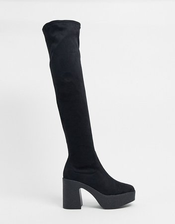 Truffle Collection chunky over the knee boots in black | ASOS