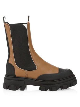 Ganni Lug-Sole Leather Combat Boots   SaksFifthAvenue