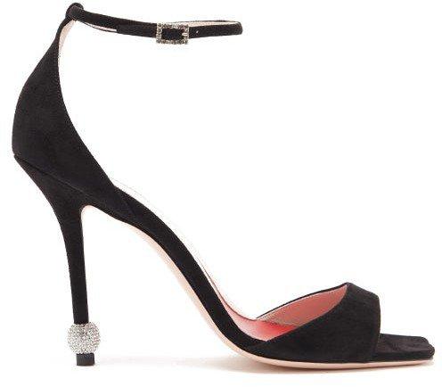 I Love Vivier Crystal-embellished Suede Sandals - Black