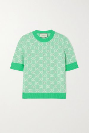Mint Intarsia wool and cotton-blend sweater | Gucci | NET-A-PORTER