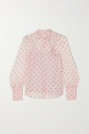 Pink Fayola twisted polka-dot flocked silk-blend organza blouse | Erdem | NET-A-PORTER