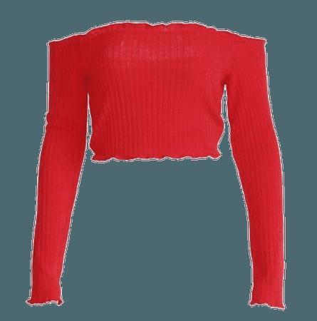 Red Long Sleeve Off Shoulder Crop Top