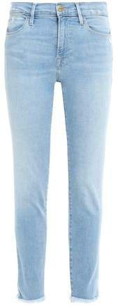 Le High Skinny Cropped Distressed High-rise Skinny Jeans