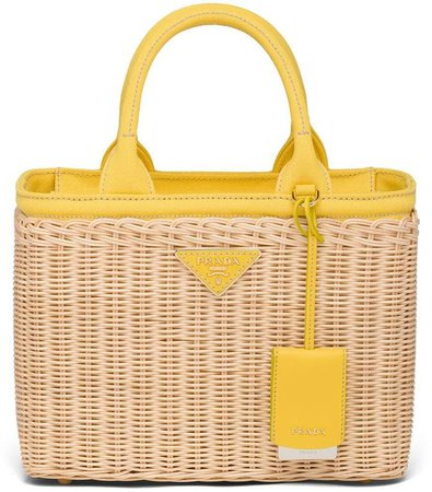 wicker and canvas tote bag