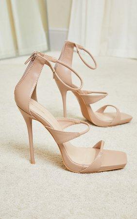 Beige Square Toe Triple Strap High Heel Sandals | PrettyLittleThing USA