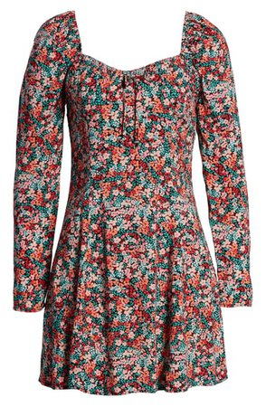 BP. Printed Long Sleeve Minidress | Nordstrom