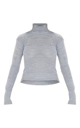 Grey Basic Roll Neck Sweater Grey | PrettyLittleThing USA