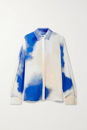 Printed Silk Crepe De Chine Shirt - Blue