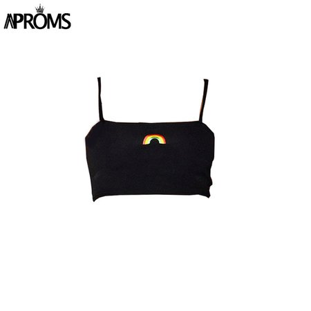 Rainbow Aproms Bordado Básico Mulheres Camis Topo Colheita Legal Meninas Streetwear Cropped Tees Slim Fit Tops Casual Preto Branco em Camis de Das mulheres Roupas & Acessórios no AliExpress.com | Alibaba Group