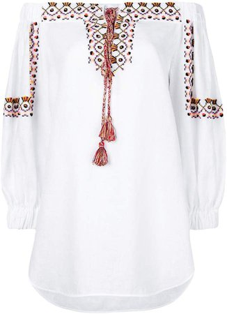 lace-up embroidered tunic