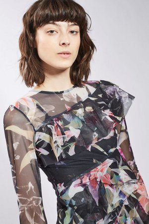 Floral Print Mesh Ruffle Midi Dress | Topshop