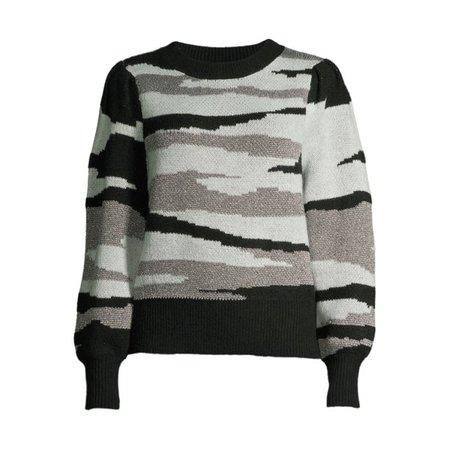 Scoop - Scoop Women's Crewneck Camo Sweater - Walmart.com - Walmart.com