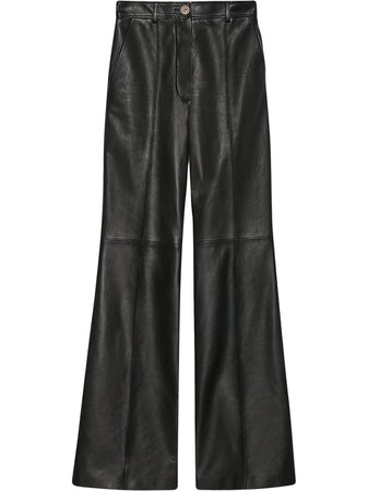Gucci Leather Flared Trousers - Farfetch