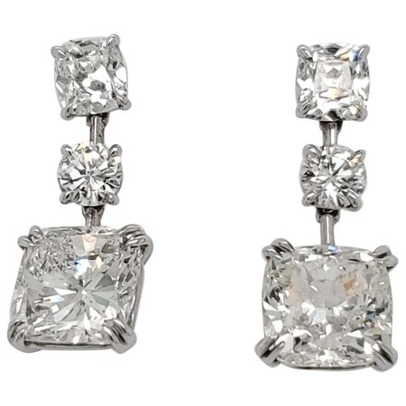 Cushion Diamond Drop Earrings with 13.16 Carat Total For Sale at 1stDibs