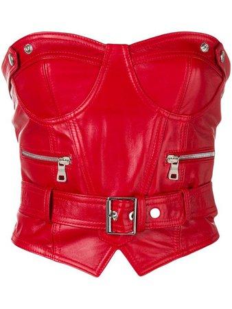 Manokhi Red Leather Belted Biker Bustier Crop Top