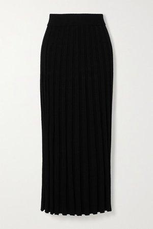 Ribbed-knit Midi Skirt - Black