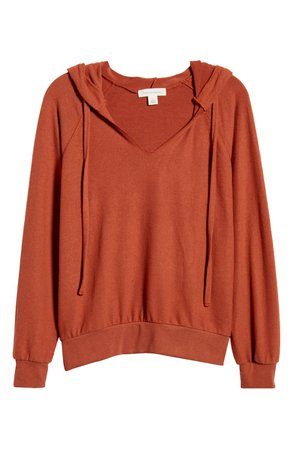 Treasure & Bond Cozy V-Neck Hooded Sweatshirt | Nordstrom