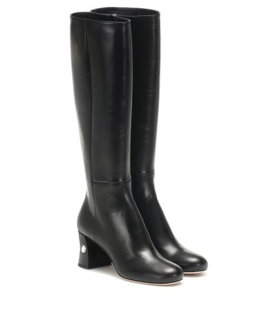 Leather Knee-High Boots - Miu Miu | Mytheresa