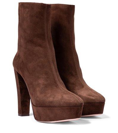 AQUAZZURA Saint Honoré 120 suede platform ankle boots