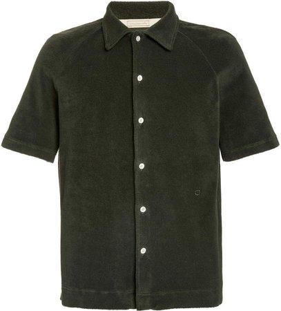 Terrycloth Button-Front Shirt