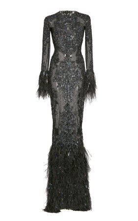 Beaded And Feather-Trimmed Silk Gown by Zuhair Murad | Moda Operandi