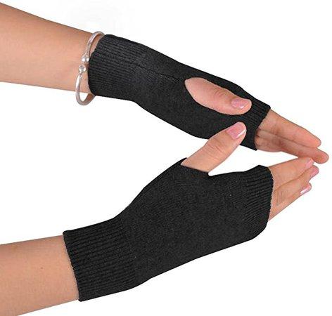 Amazon.com: NOVAWO Cashmere Blend Half Fingerless Thumb Hole Warm Gloves Mittens for Men Women, Khaki: Clothing