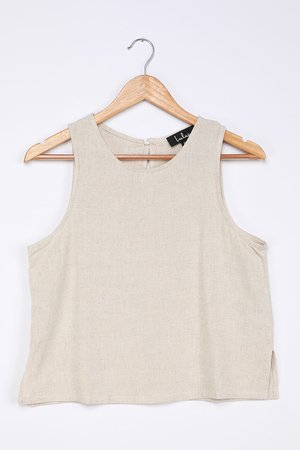 Beige Tank Top - Linen Tank Top - Linen Sleeveless Top - Lulus