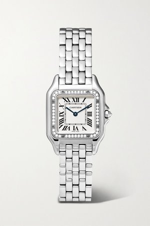 Silver Panthère de Cartier 22mm small stainless steel and diamond watch | Cartier | NET-A-PORTER