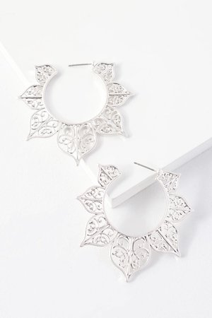 Stylish Silver Earrings - Hoop Earrings - Engraved Earrings